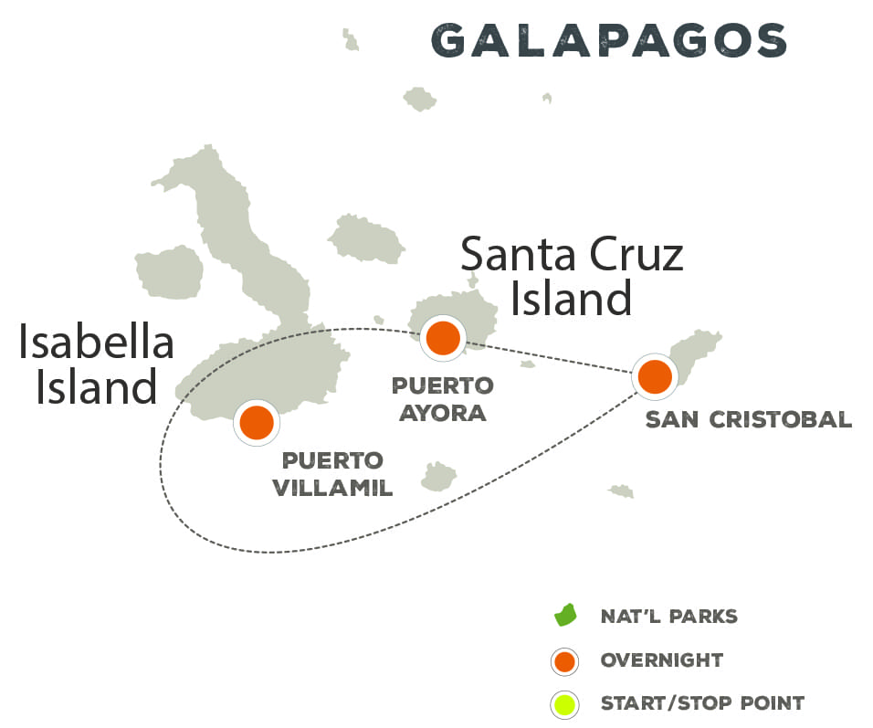 Afoot in the Galapagos Islands - Trip Map