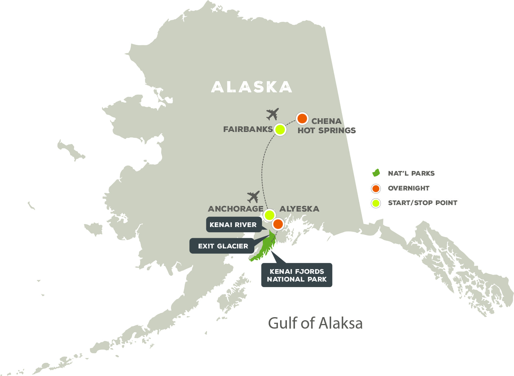 Alaska's Winter Magic - Trip Map