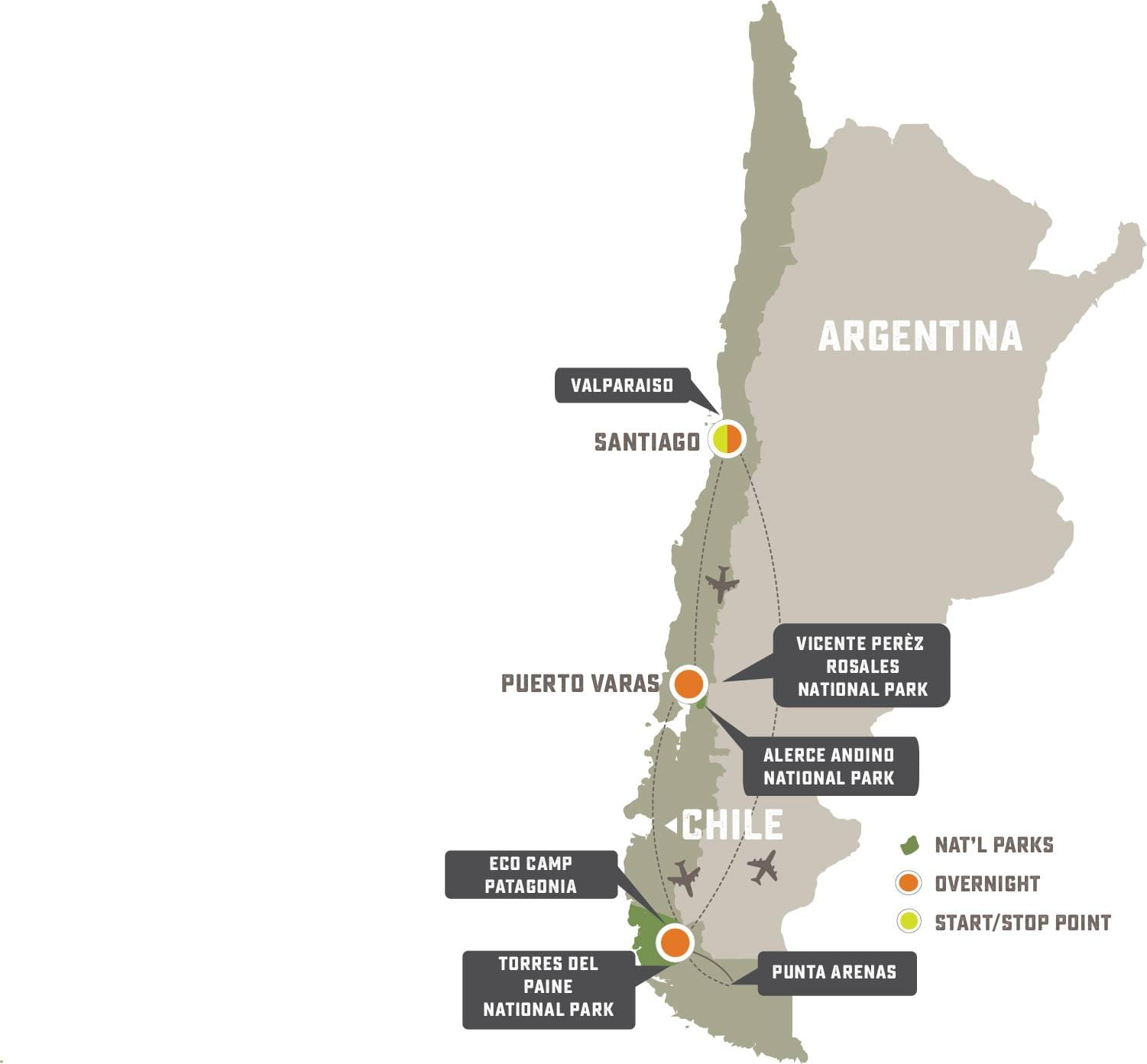 Chilean Adventure - Trip Map