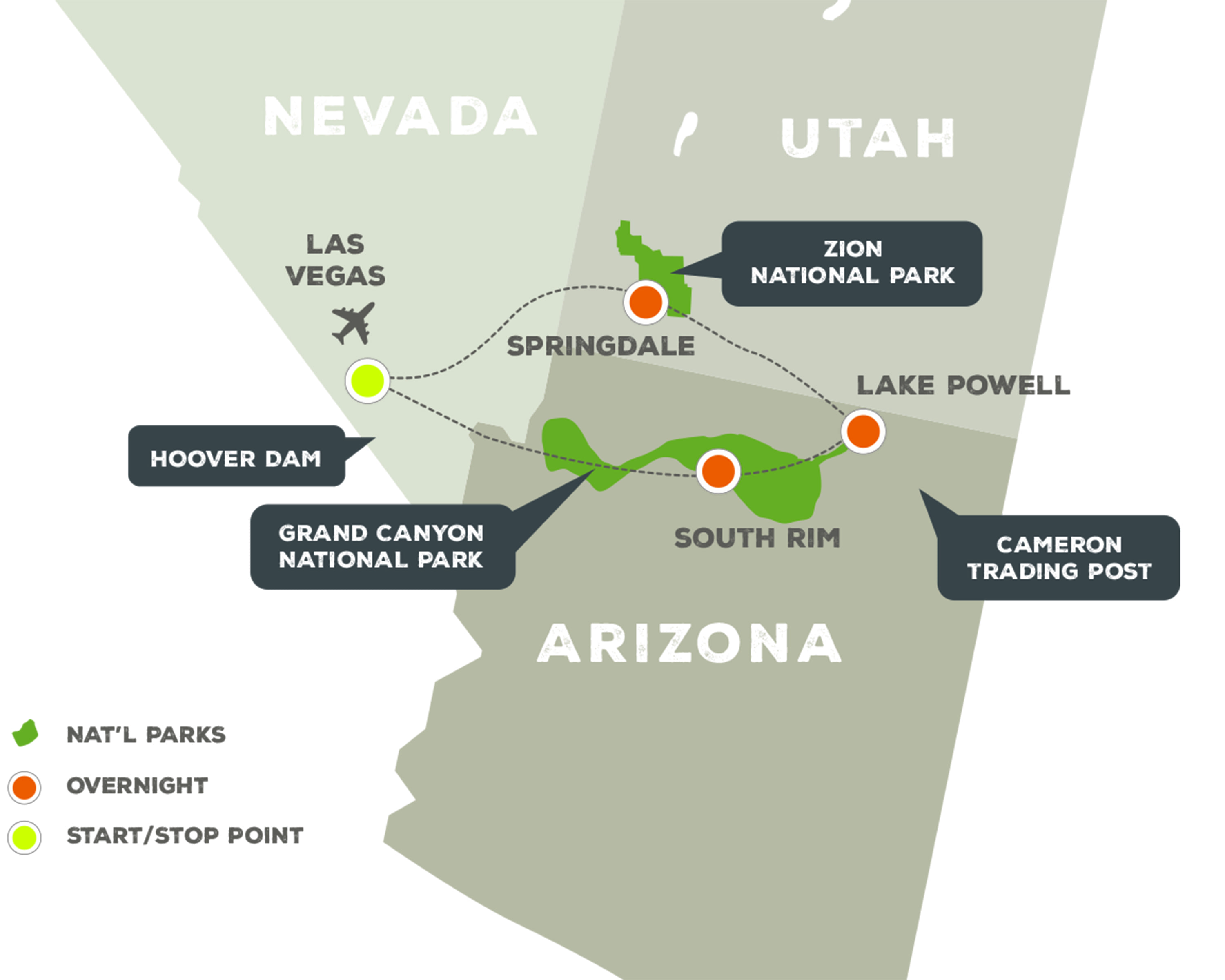 Classic Canyon Medley - Trip Map