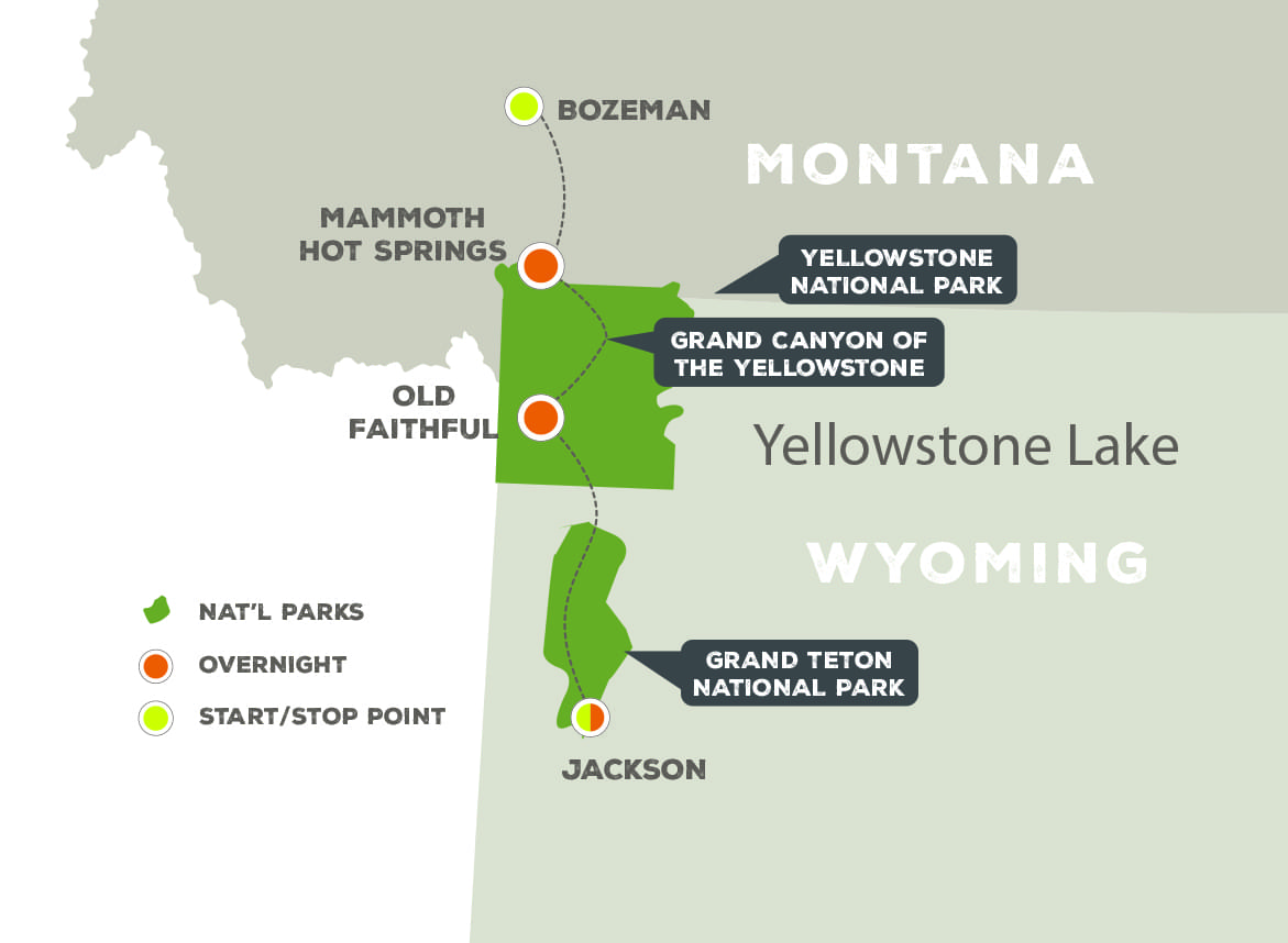 Essence of Yellowstone and Grand Teton - Trip Map