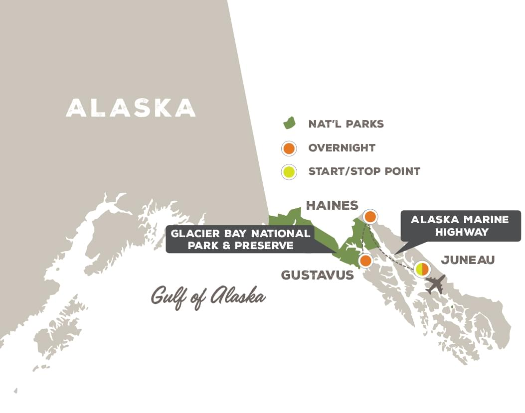 Glacier Bay and the Inside Passage - Trip Map