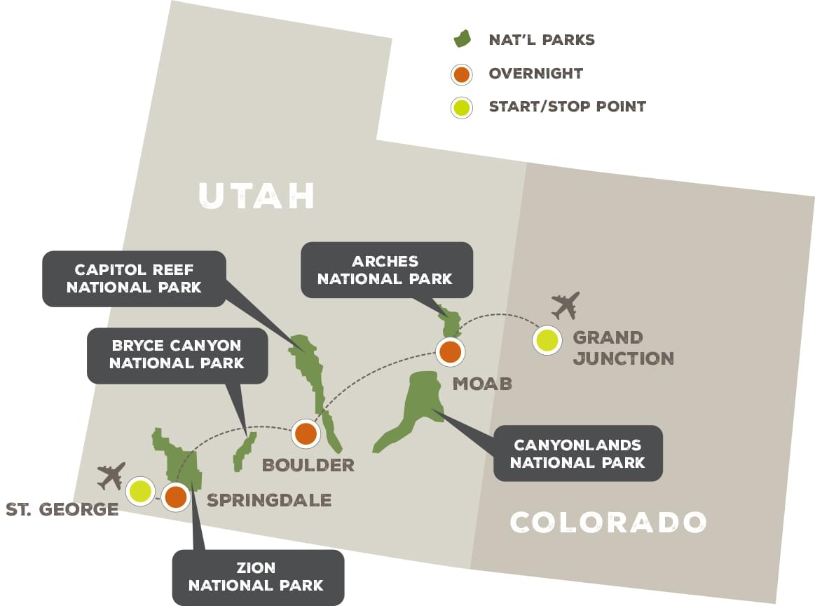 Hiking Utah's National Parks - Trip Map