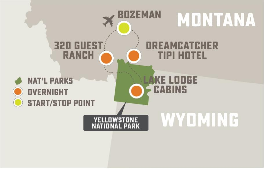 Hiking in Yellowstone - Trip Map