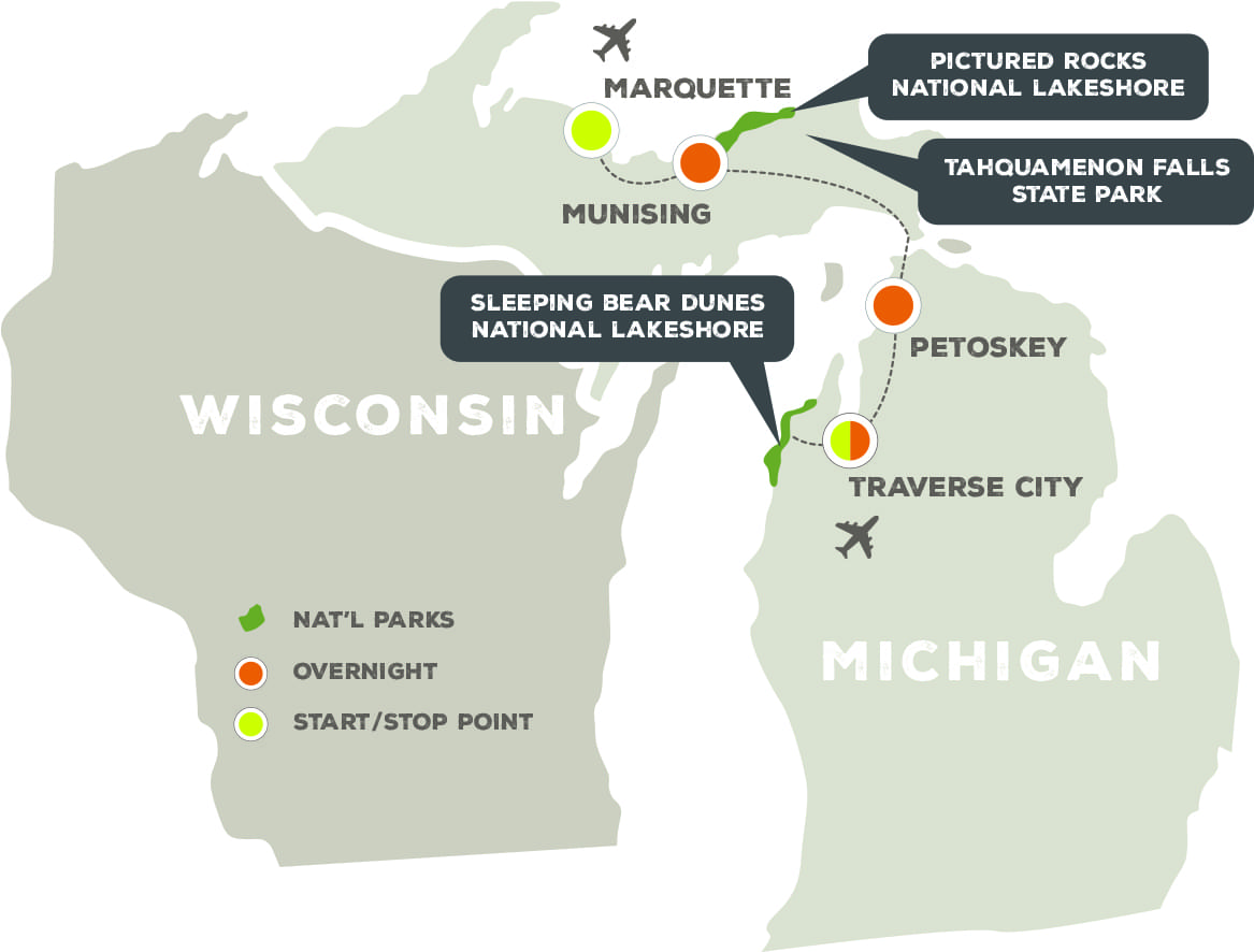 Northern Michigan's National Lakeshores - Trip Map
