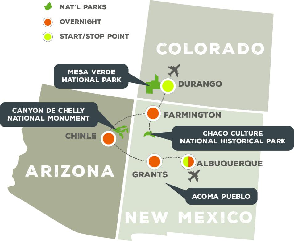 Puebloan Mystery - Trip Map