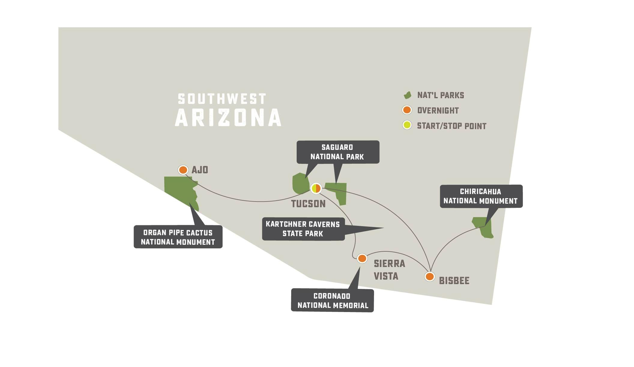 Sonoran Desert Mystique - Trip Map