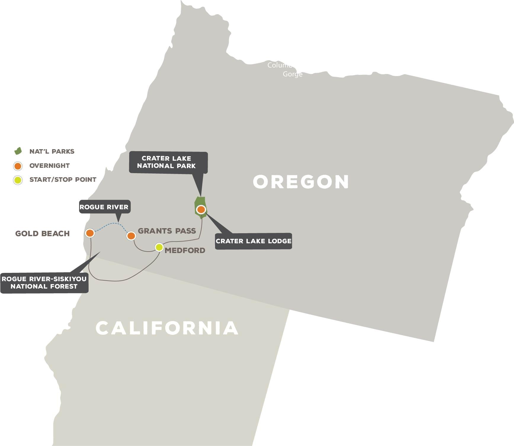 The Oregon Experience - Trip Map