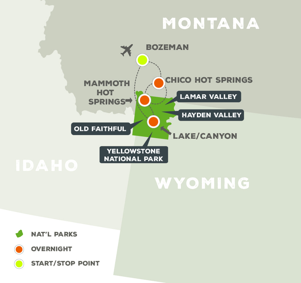 Yellowstone Wildlife Safari - Trip Map