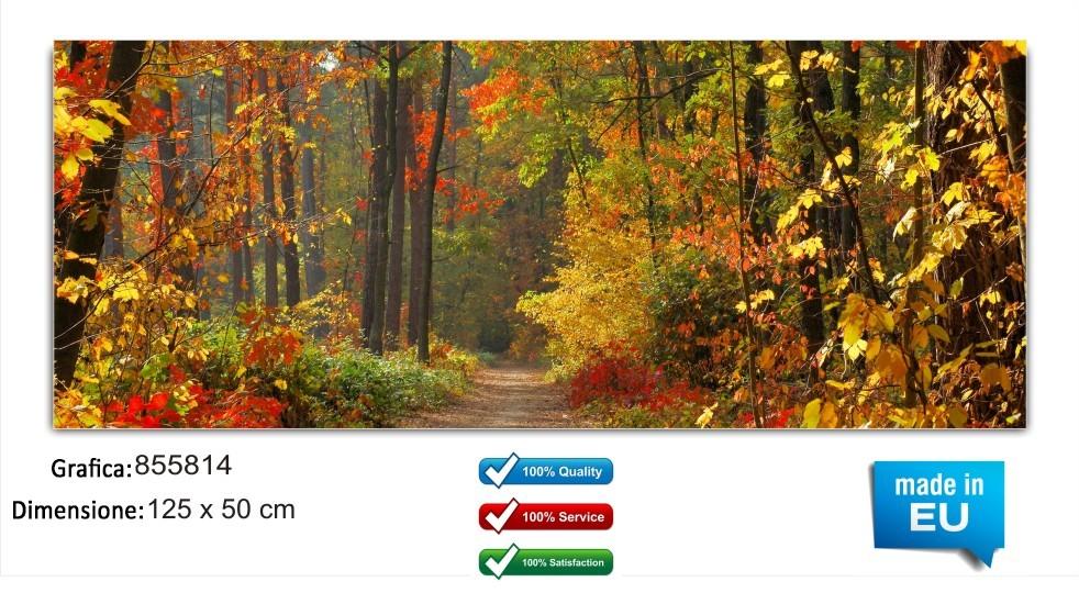 Quadri moderni autunno 125x50 cm in vetro temperato astratto foglie