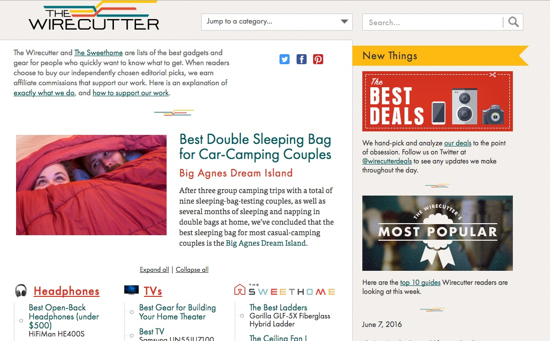 The Wirecutter does affiliate marketing
