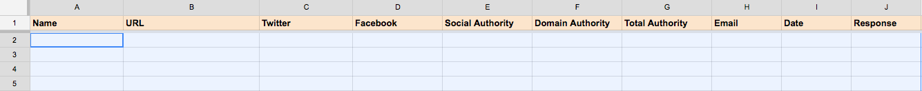Creating an outreach spreadsheet