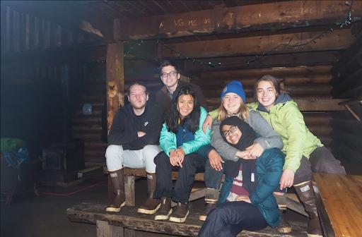 Students at Samsing cabin