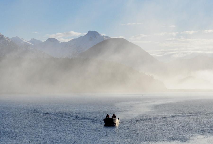 Skiff in the mist