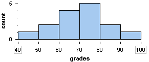 Histogram showing quiz grades. Highest percentage is the seventy to eighty percent bar.