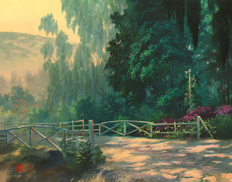 painting with trees and a shadowy road with gate