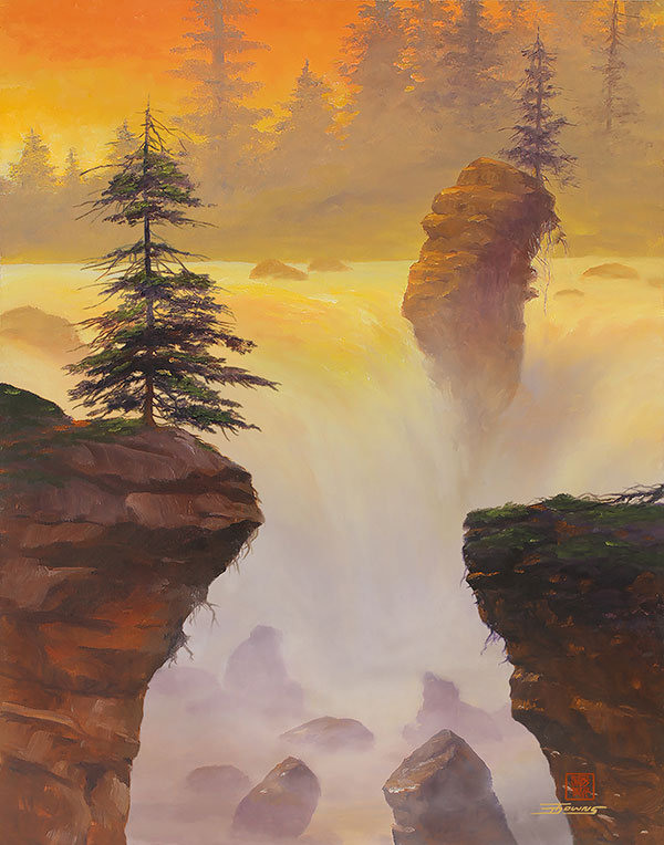 waterfall painting at sunset