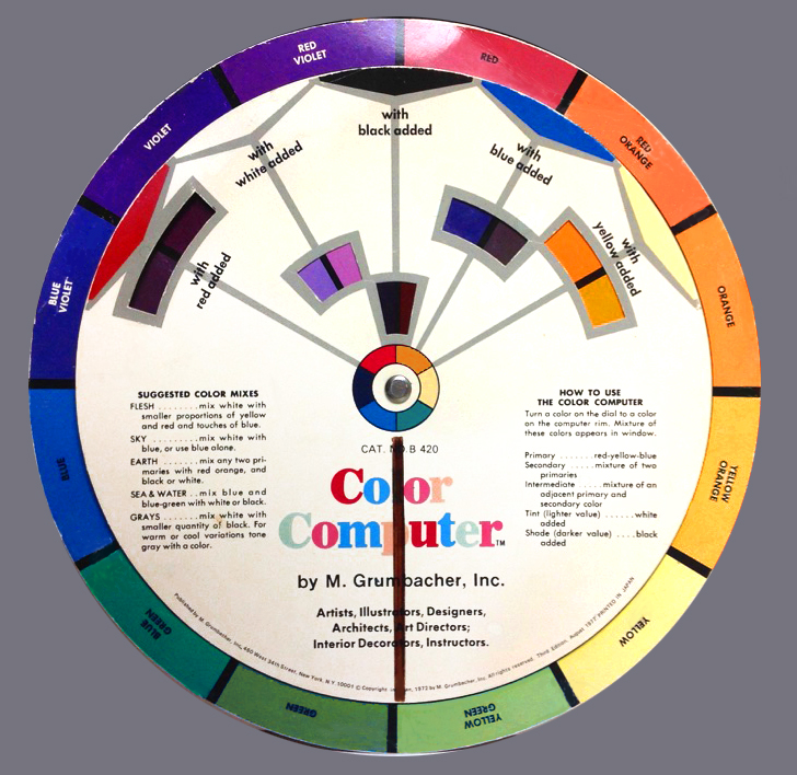 """Color Computer"" Color Wheel with suggested color mixes"