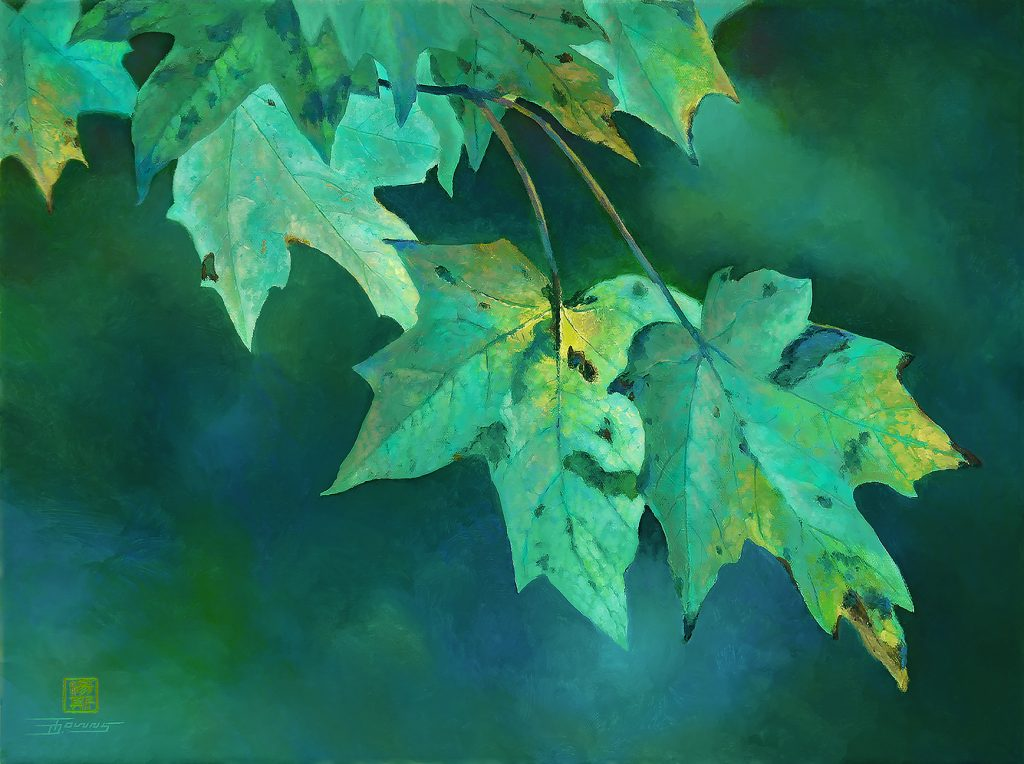 """Encroaching Fall"" limited palette painting demonstrates the use of analogous colors"