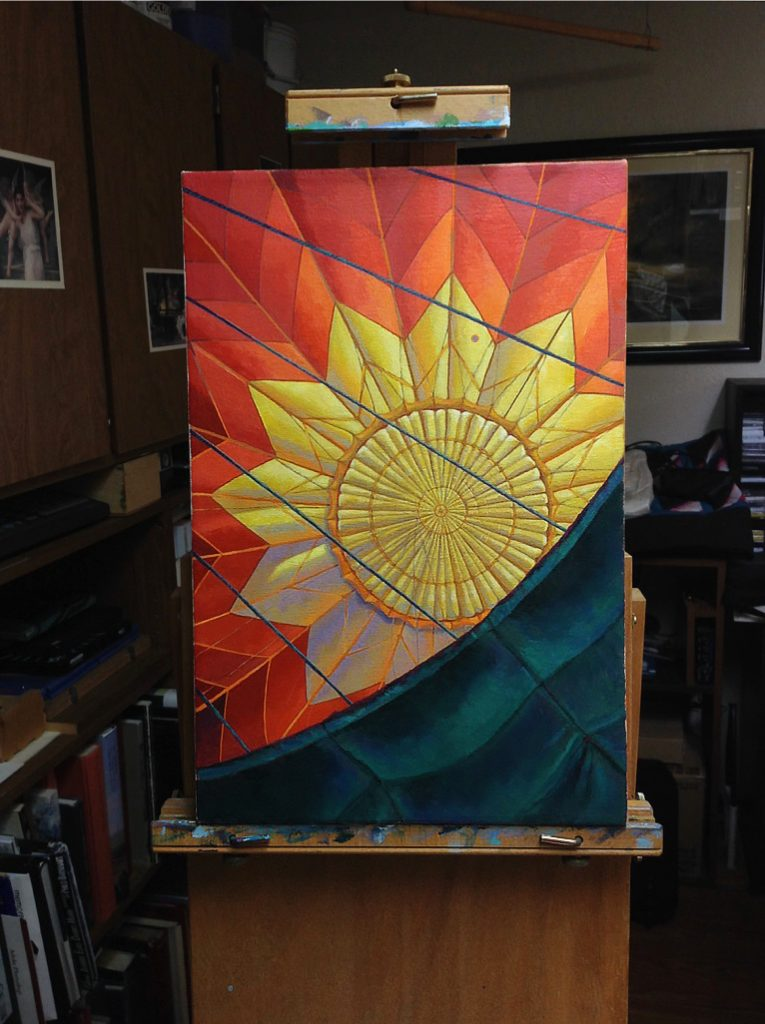 Hot air balloon painting on easel