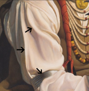 "Arrows pointing out core shadows in the sleeve and armband of subject from ""Crow"" painting."