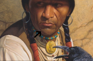 "Arrow pointing out core shadow and reflective light on chin of subject from ""Crow"" painting."