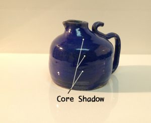 Core shadows pointed out on the surface of a highly reflective (and rounded) object.