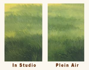 Paintings of in-studio, airbrushed grass compared to Plein air, brush painted grass.