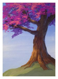 Finished look of flowering tree painted in animation style.