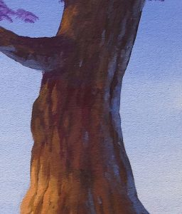Painting reflective light into random shadow areas of the tree trunk.