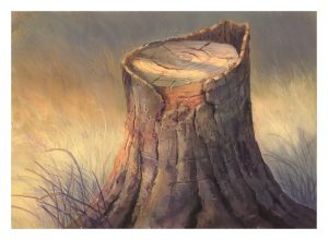 Final painting of detailed tree bark and wood textures on a tree stump.