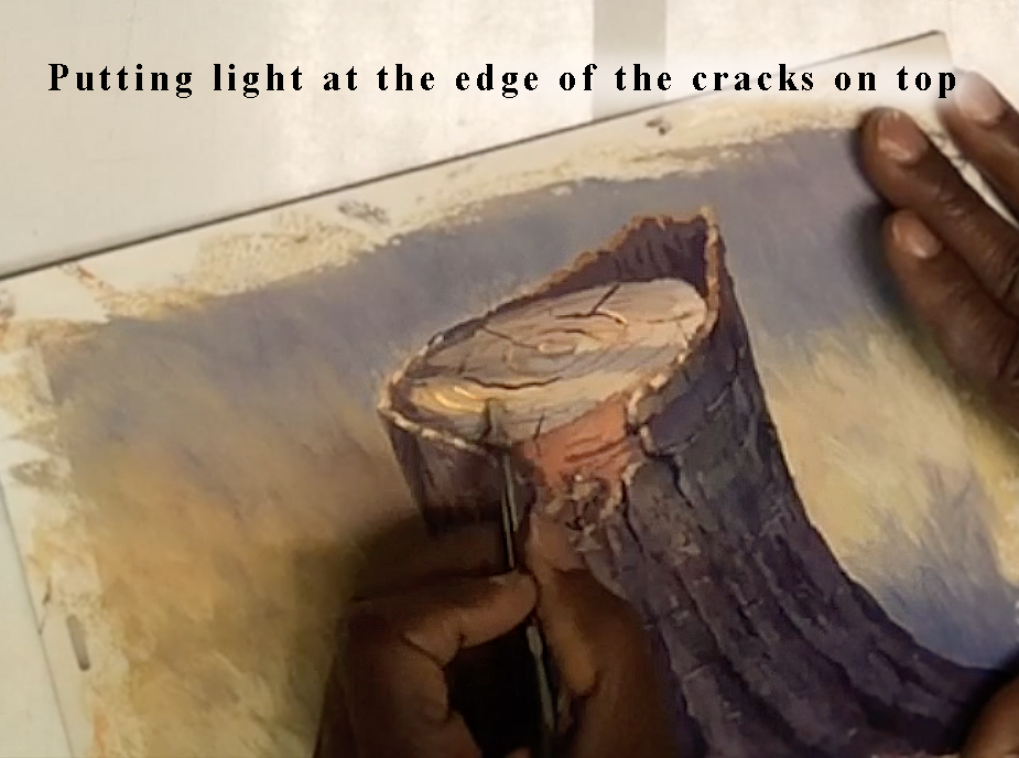 Putting light at the edges of the crack on top of the stump.