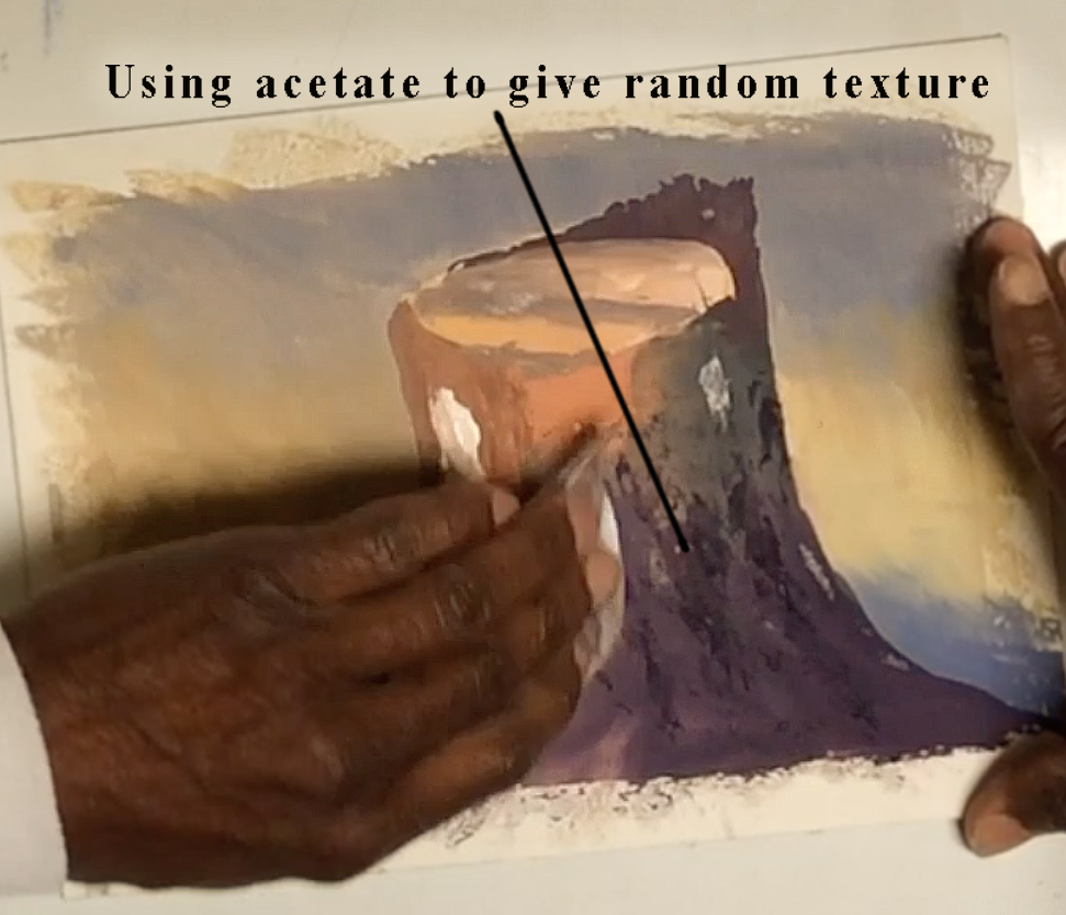 Use acetate to give random texture.