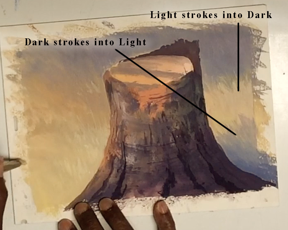 Simulate grass with dark strokes into light areas, and light stroke into the dark areas.