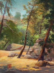 plein air painting of trees