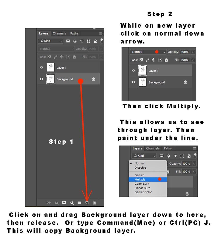 Photoshop window showing how to make layers transparent