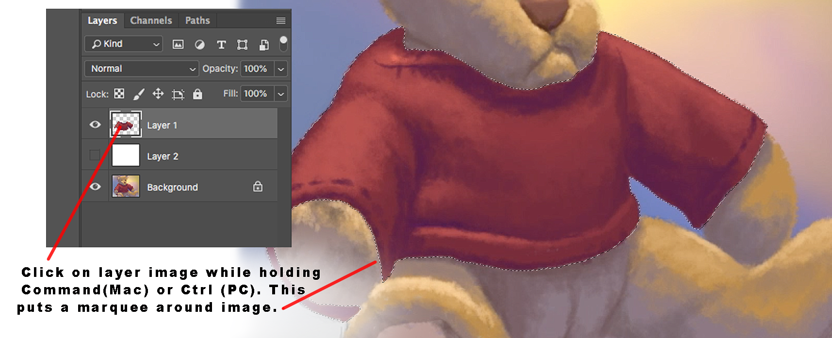 Using marquee tool when painting with Photoshop