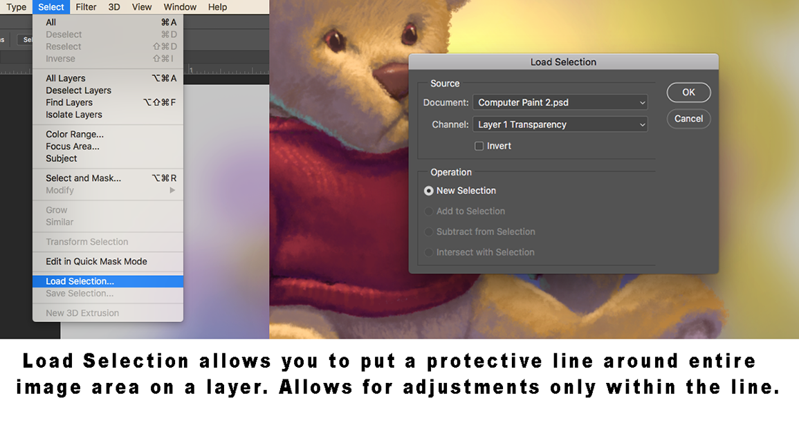How Load Selection works when painting digitally on Photoshop
