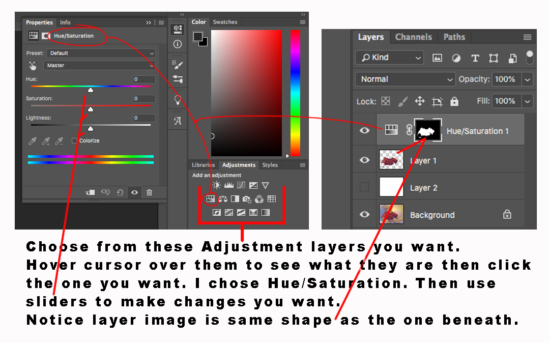 How to use adjustment layers when painting digitally on photoshop