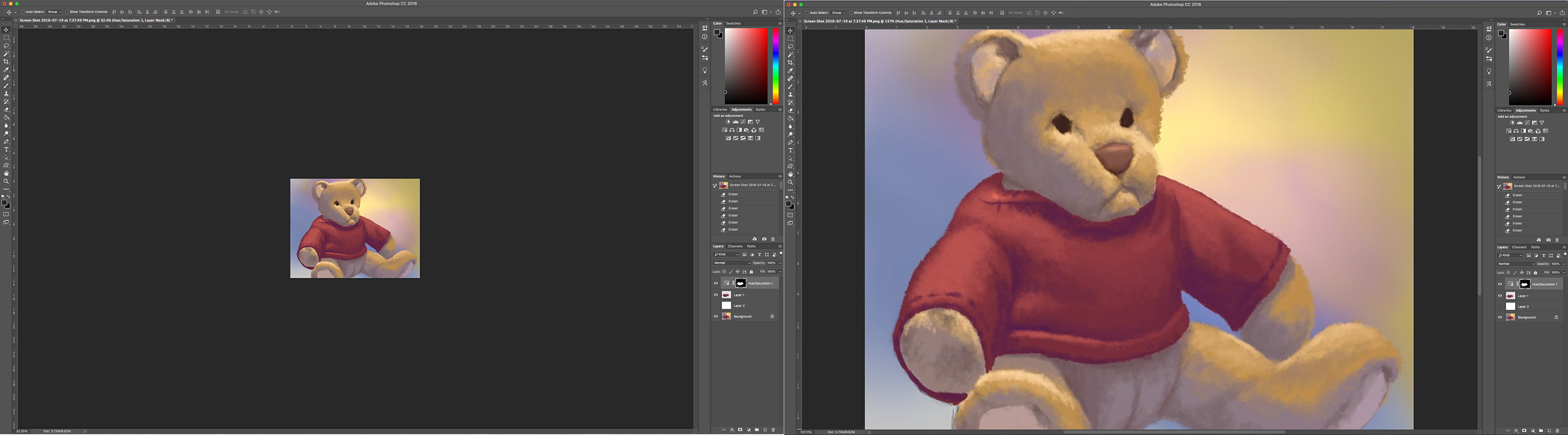 Seeing the object far and close-up when painting digitally on Photoshop