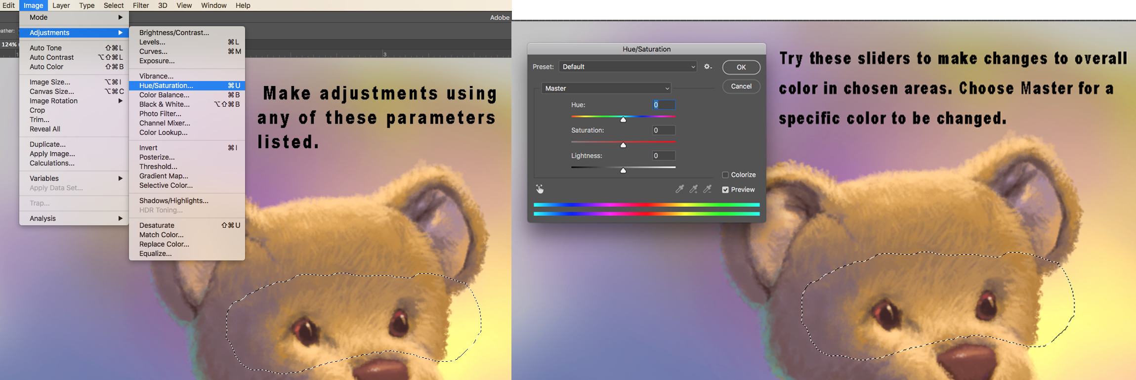 Using image adjustment and color to paint digitally on Photoshop