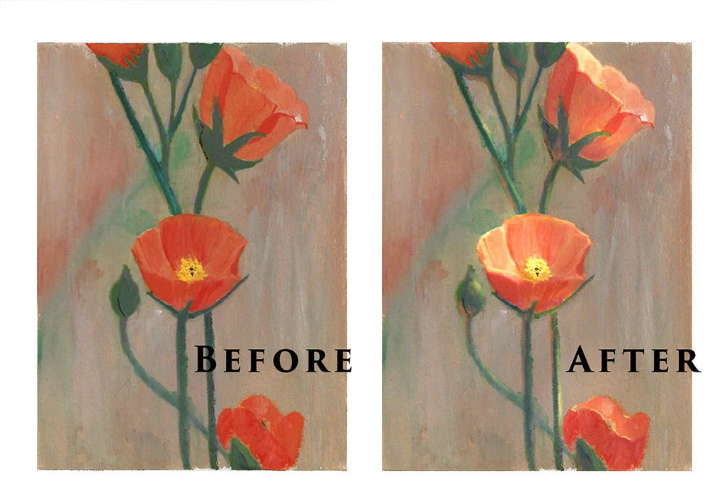 flower painting before after