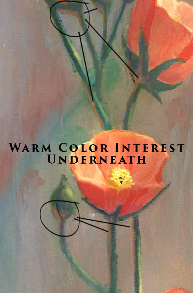 painting color interest on flower stem, buds