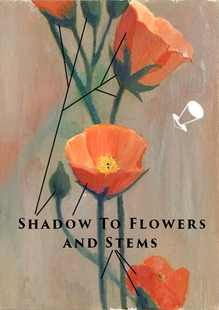 Painting shadow on flower, stems, buds