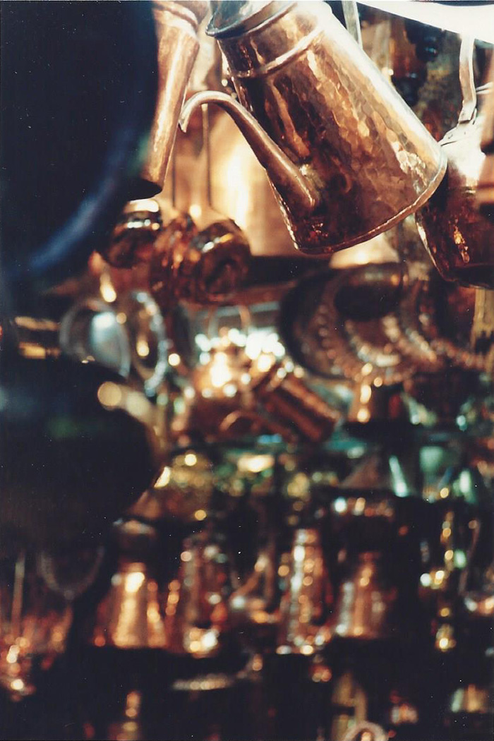 brass wares hanging at market