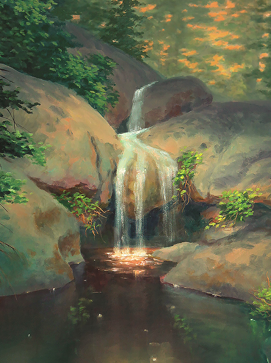 waterfall sunset painting