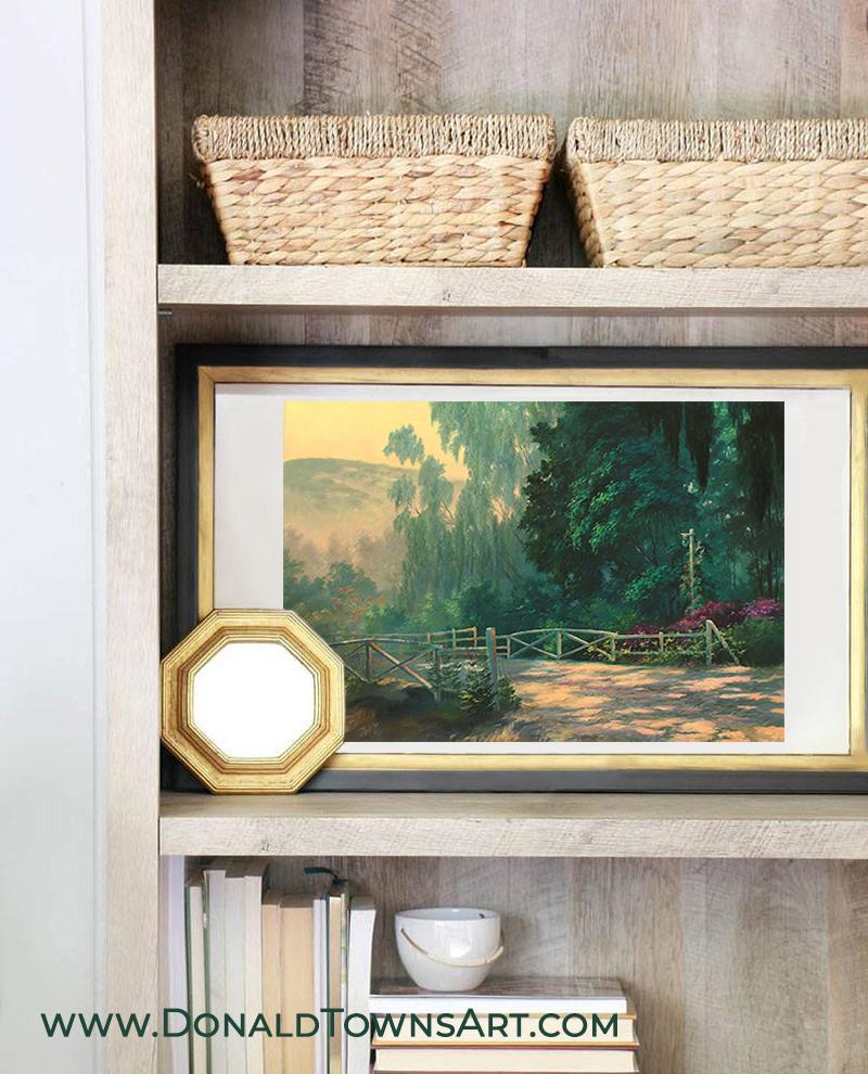 Painting on a bookshelf