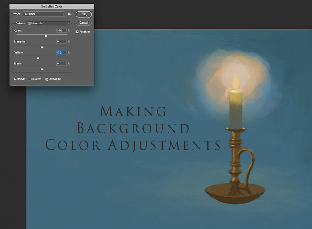 Making color or hue changes on Photoshop Painting.