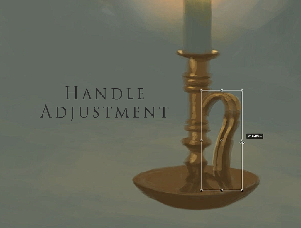 computer painted candle holder handle adjustment