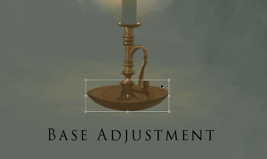 digitally painted candle holder base adjustment